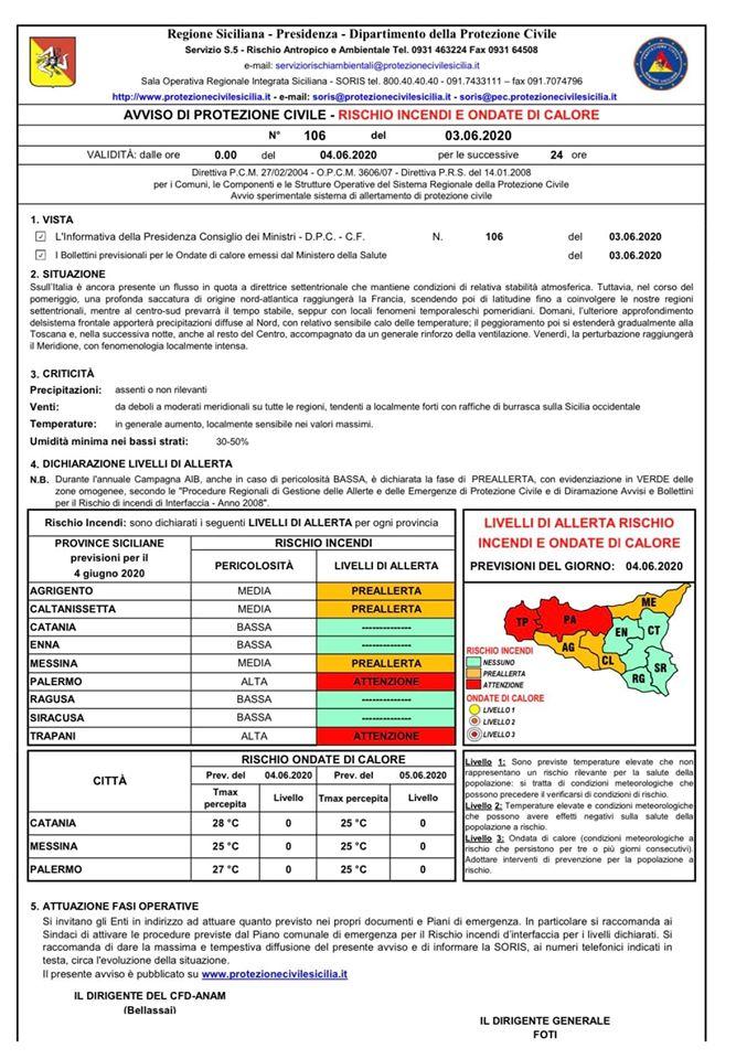 Allerta per domani in provincia di Trapani: scirocco, caldo e rischio incendi