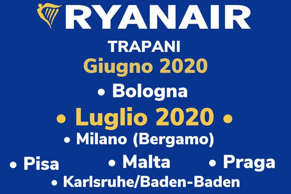 Birgi, ecco i voli Ryanair per l'estate 2020