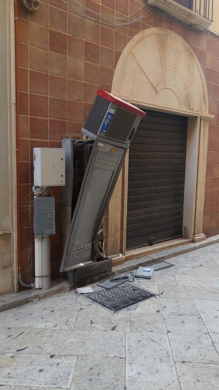 Devastata la cabina della tim telecom in via curatolo a for Disegni base della cabina